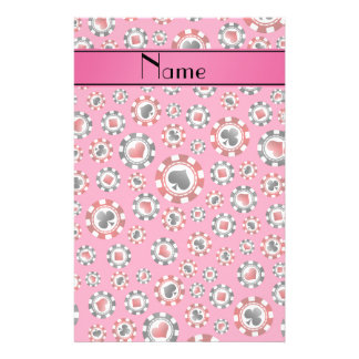 Personalized name pink poker chips custom stationery