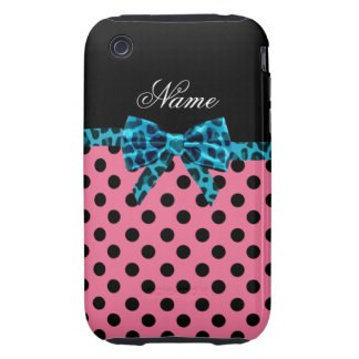 Personalized name pink polka dots turquoise bow tough iPhone 3 cover