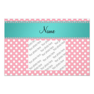 Personalized name pink polka dots turquoise stripe photographic print