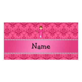 Personalized name pink princess pink damask personalized photo card