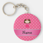 Personalized name pink princess pink polka dots keychains
