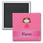 Personalized name pink princess pink polka dots fridge magnets