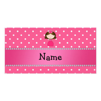 Personalized name pink princess pink polka dots photo cards