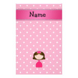 Personalized name pink princess pink polka dots customized stationery