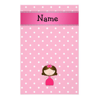 Personalized name pink princess pink polka dots stationery