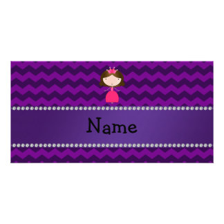 Personalized name pink princess purple chevrons photo card template