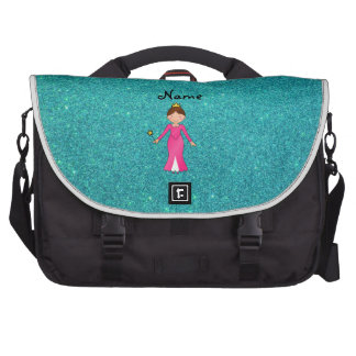 Personalized name pink princess turquoise glitter commuter bags