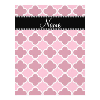 Personalized name pink quatrefoil pattern flyer