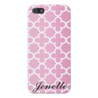 Personalized Name Pink Quatrefoil Pattern iPhone 5 Cover
