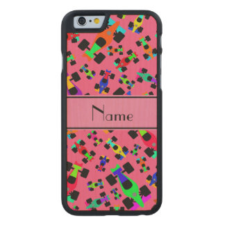 Personalized name pink race car pattern carved® maple iPhone 6 case