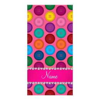 Personalized name pink rainbow buttons pattern photo greeting card