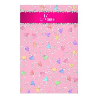 Personalized name pink rainbow diamond ring stationery