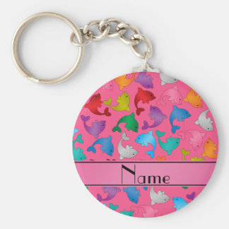 Personalized name pink rainbow dolphins basic round button key ring