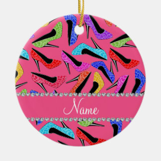 Personalized name pink rainbow leopard high heels christmas ornament