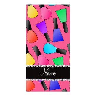 Personalized name pink rainbow nail polish photo card