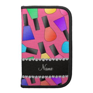 Personalized name pink rainbow nail polish organizers