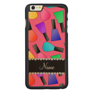 Personalized name pink rainbow nail polish carved® maple iPhone 6 plus case