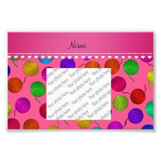 Personalized name pink rainbow yarn balls photograph