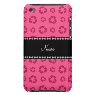 Personalized name pink recycling pattern barely there iPod cases