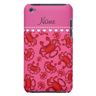 Personalized name pink red crab pattern barely there iPod cover