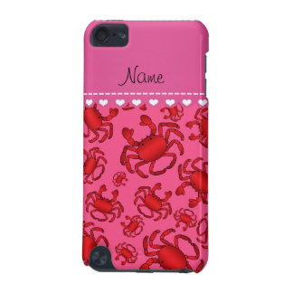 Personalized name pink red crab pattern iPod touch (5th generation) cover