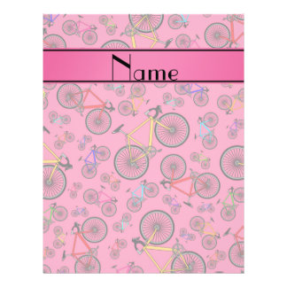 Personalized name pink road bikes 21.5 cm x 28 cm flyer