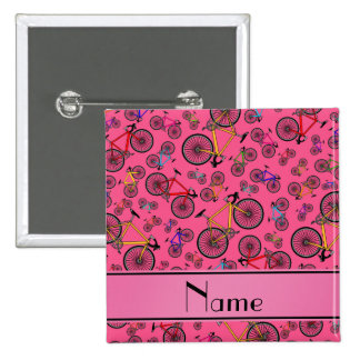 Personalized name pink road bikes 15 cm square badge