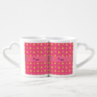 Personalized name pink rubber duck pattern lovers mug