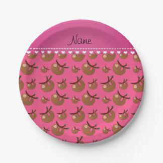 Personalized name pink sloth pattern paper plate