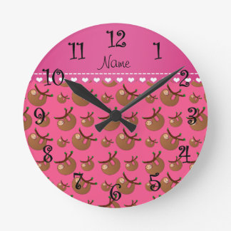 Personalized name pink sloth pattern round clock