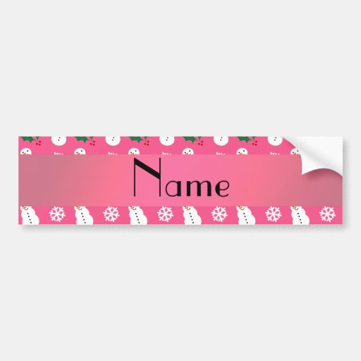 Personalized name pink snowman christmas bumper stickers