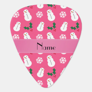 Personalized name pink snowman christmas guitar pick