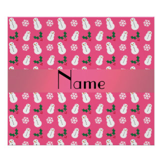 Personalized name pink snowman christmas print