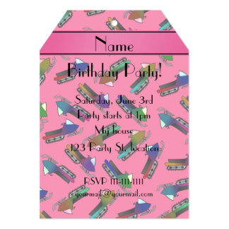 Personalized name pink snowmobiles 5x7 paper invitation card
