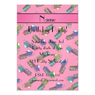 Personalized name pink snowmobiles magnetic invitations