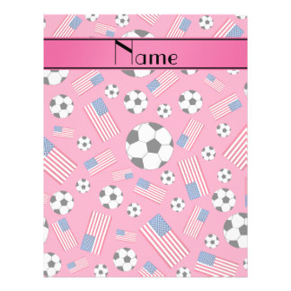Personalized name pink soccer american flag 21.5 cm x 28 cm flyer