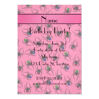 Personalized name pink spiders magnetic invitations