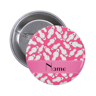 Personalized name pink spotted seal 6 cm round badge