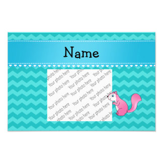 Personalized name pink squirrel turquoise chevrons photo