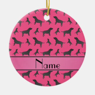 Personalized name pink Staffordshire Terrier dogs Round Ceramic Decoration