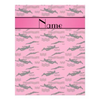 Personalized name pink swimming pattern 21.5 cm x 28 cm flyer
