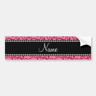 Personalized name pink swirls bumper stickers