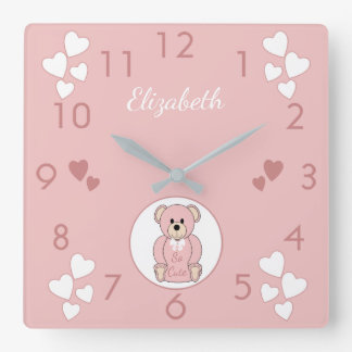 Personalized name Pink Teddy Bear baby Square Wall Clock