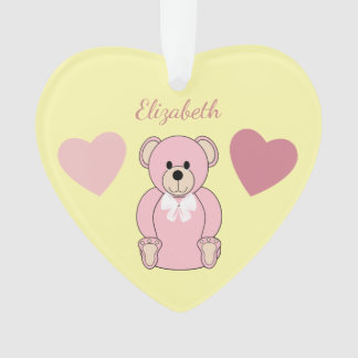 Personalized name Pink Teddy Bear Nursery Ornament