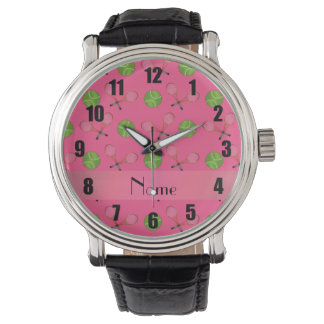 Personalized name pink tennis balls watch