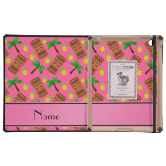 Personalized name pink tiki pineapples palm trees cover for iPad