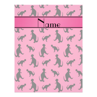 Personalized name pink trex dinosaurs 21.5 cm x 28 cm flyer