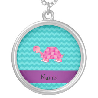 Personalized name pink turtle silver plated necklace