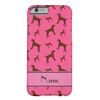 Personalized name pink Vizsla dogs Barely There iPhone 6 Case
