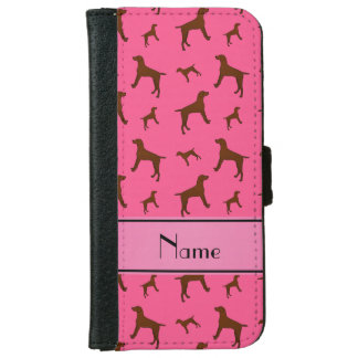 Personalized name pink Vizsla dogs iPhone 6 Wallet Case